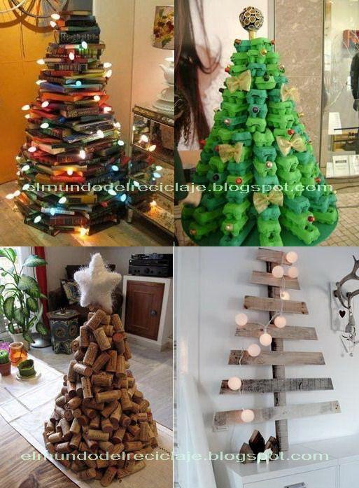 El Mundo Del Reciclaje Arboles Con Material Reciclado Manualidades Manualidades Navidenas Artesanias De Navidad