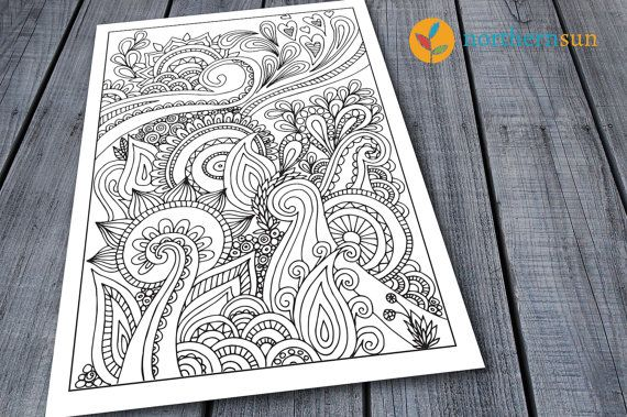Doodle Adult Colouring Page, Printable Colouring Pages Swirly Floral