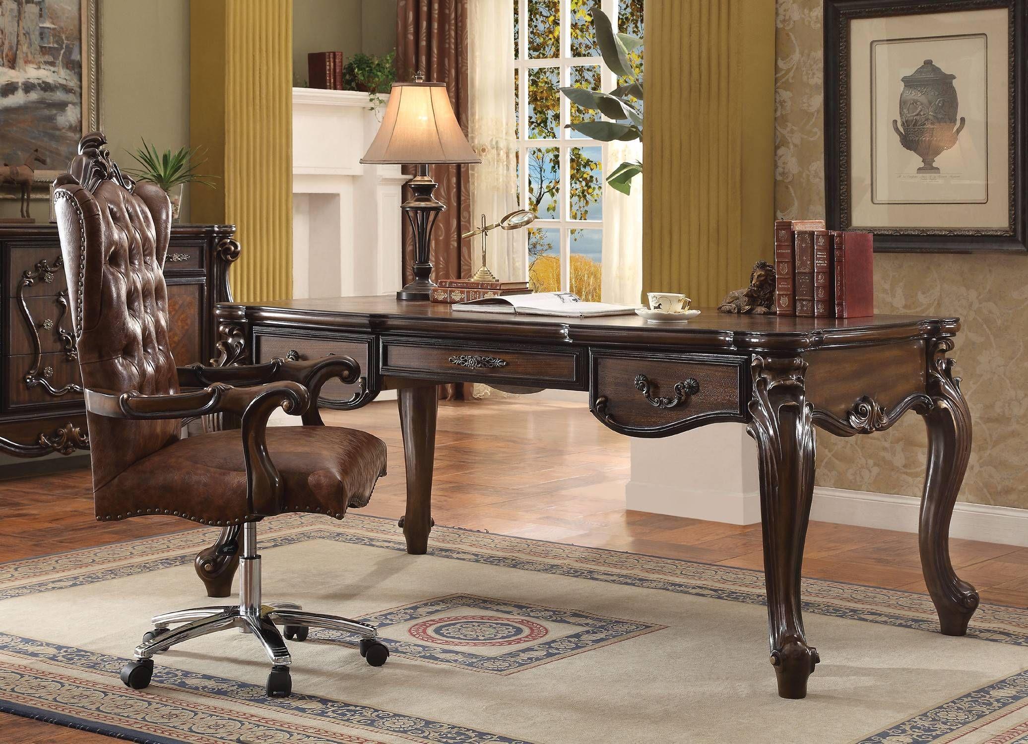 Acme 92280 Versailles 2pcs Cherry Oak Office Executive Desk Set