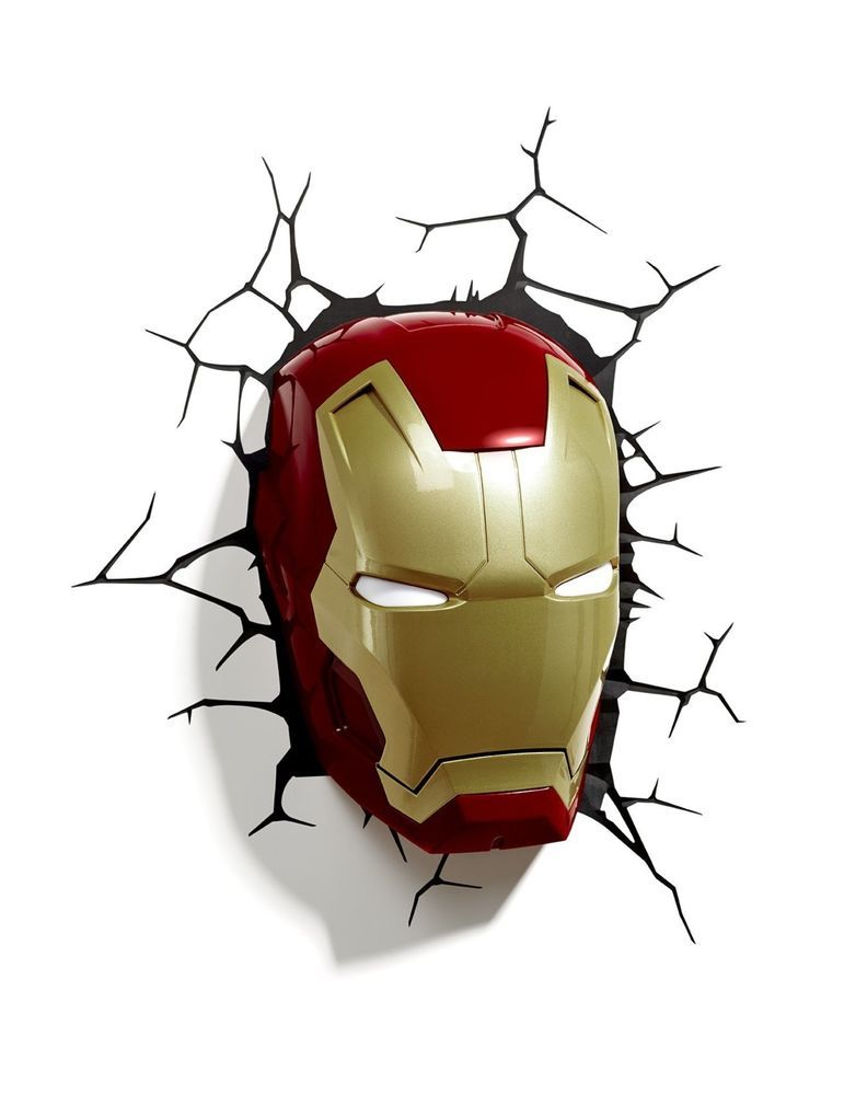 Light Fx Marvel Iron Man Mask Deco Led Wall Decor Nightlight Avengers Lightfx