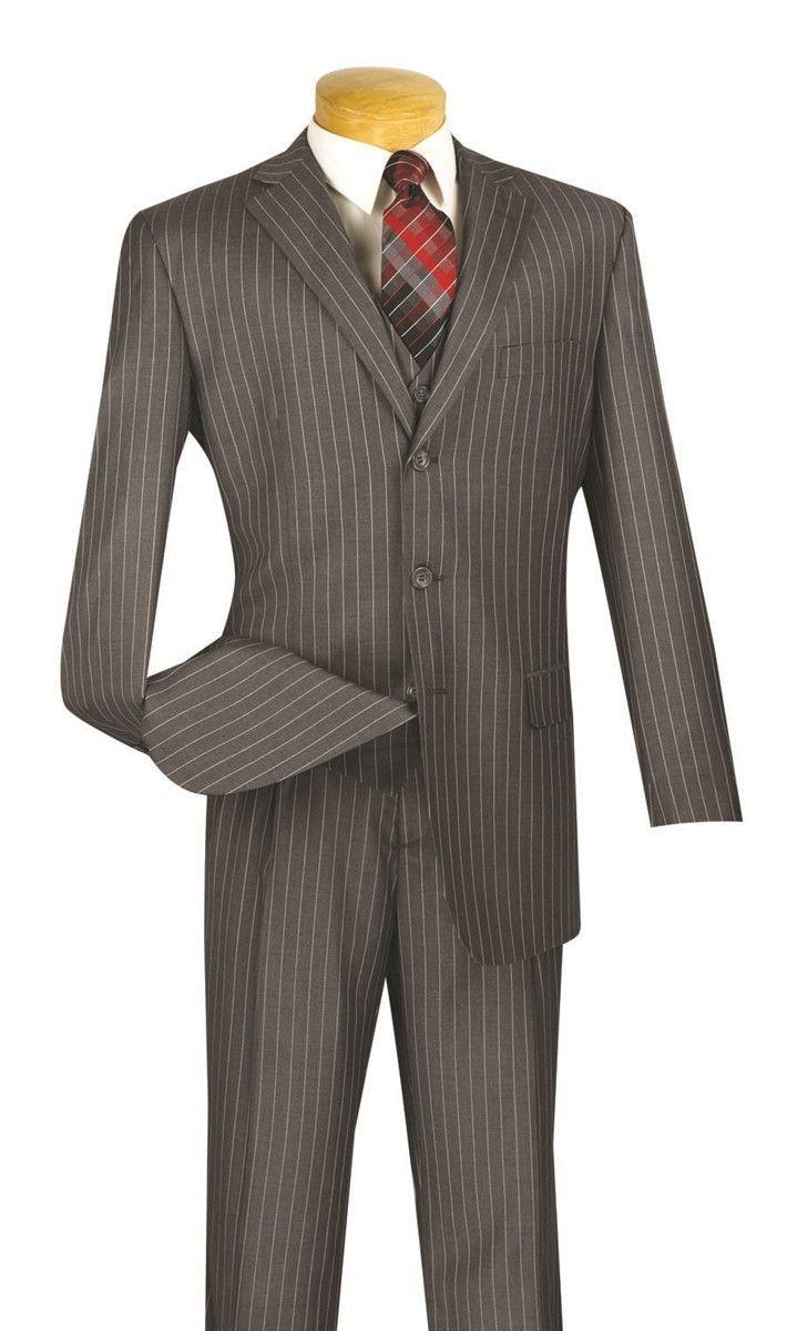 VINCI Men/'s Brown Pinstripe 3 Piece 2 Button Classic Fit Suit NEW