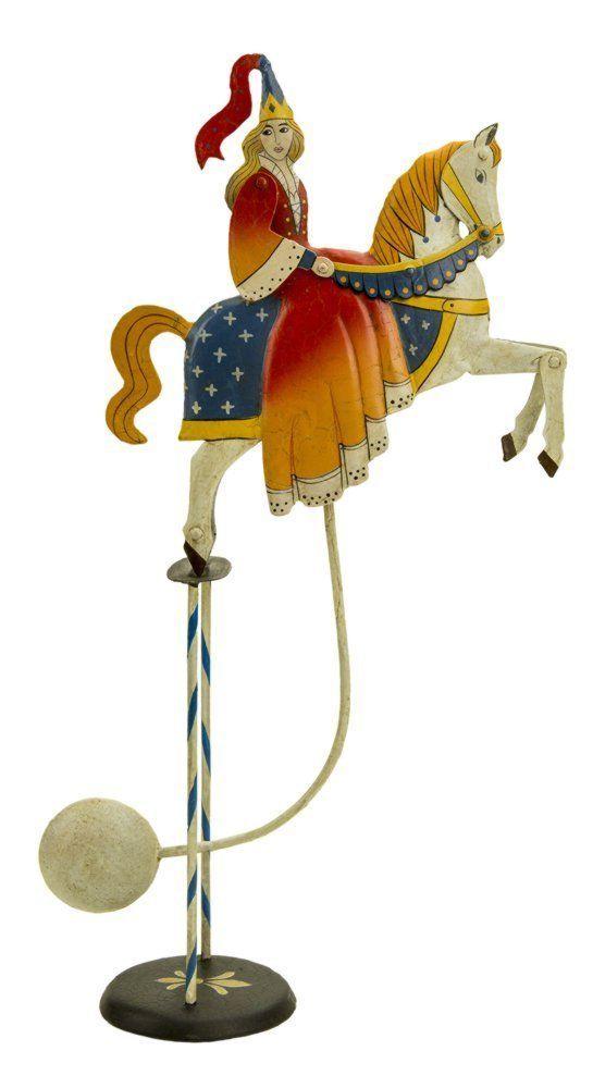 zur Ritterzeit Pendelfigur Prinzessin mit Hennin zu Pferde G670: Balancefigur