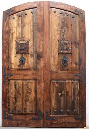 Reclaimed lumber rustic arched double doors comes w/ hand ...