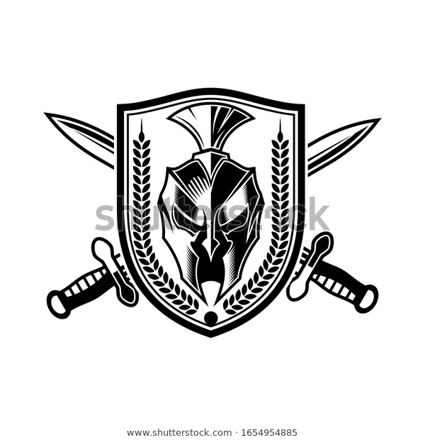 Spartan Helmet Shield Cross Sword Logo Stock Vector Royalty Free 1654954885 Sword Logo Spartan Helmet Sword