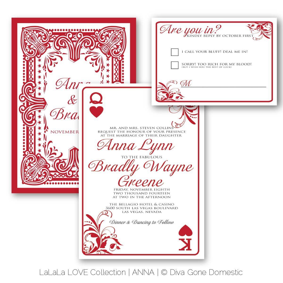 Casino Wedding Invitations: Playing Card Casino Las Vegas Wedding Invitation