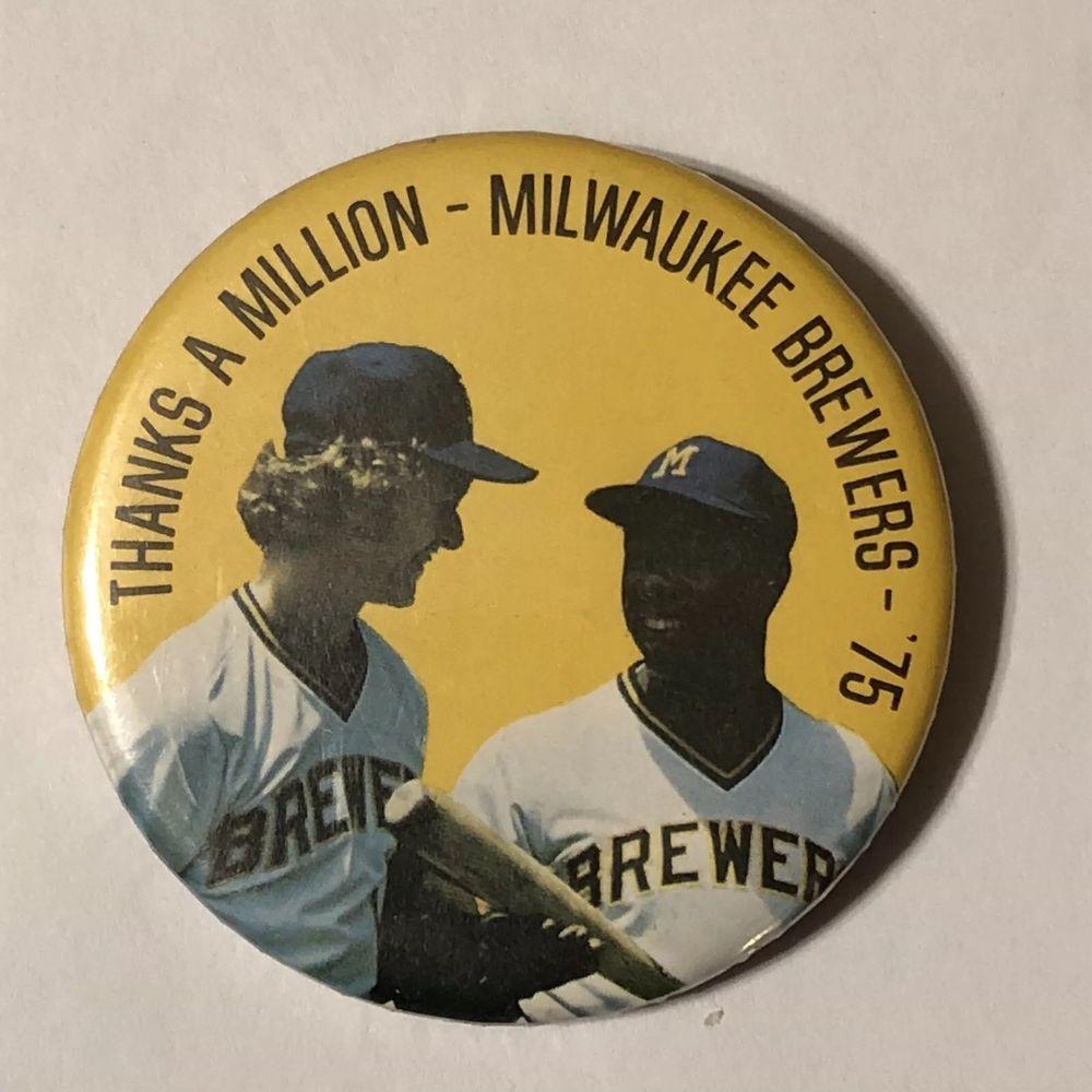 1975 milwaukee brewers hank aaron robin young pinback