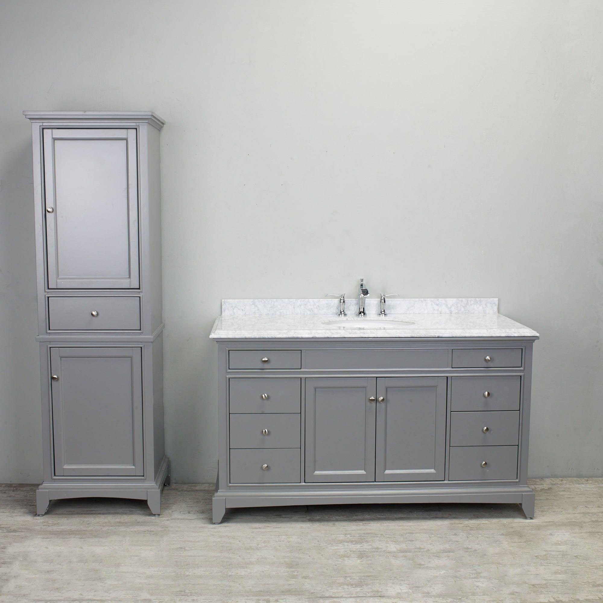Eviva Elite Stamford Grey Solid Wood Bathroom Vanity With Double Carrera Marble Top Wood Bathroom Vanity Wood Bathroom Carrera Marble Bathroom