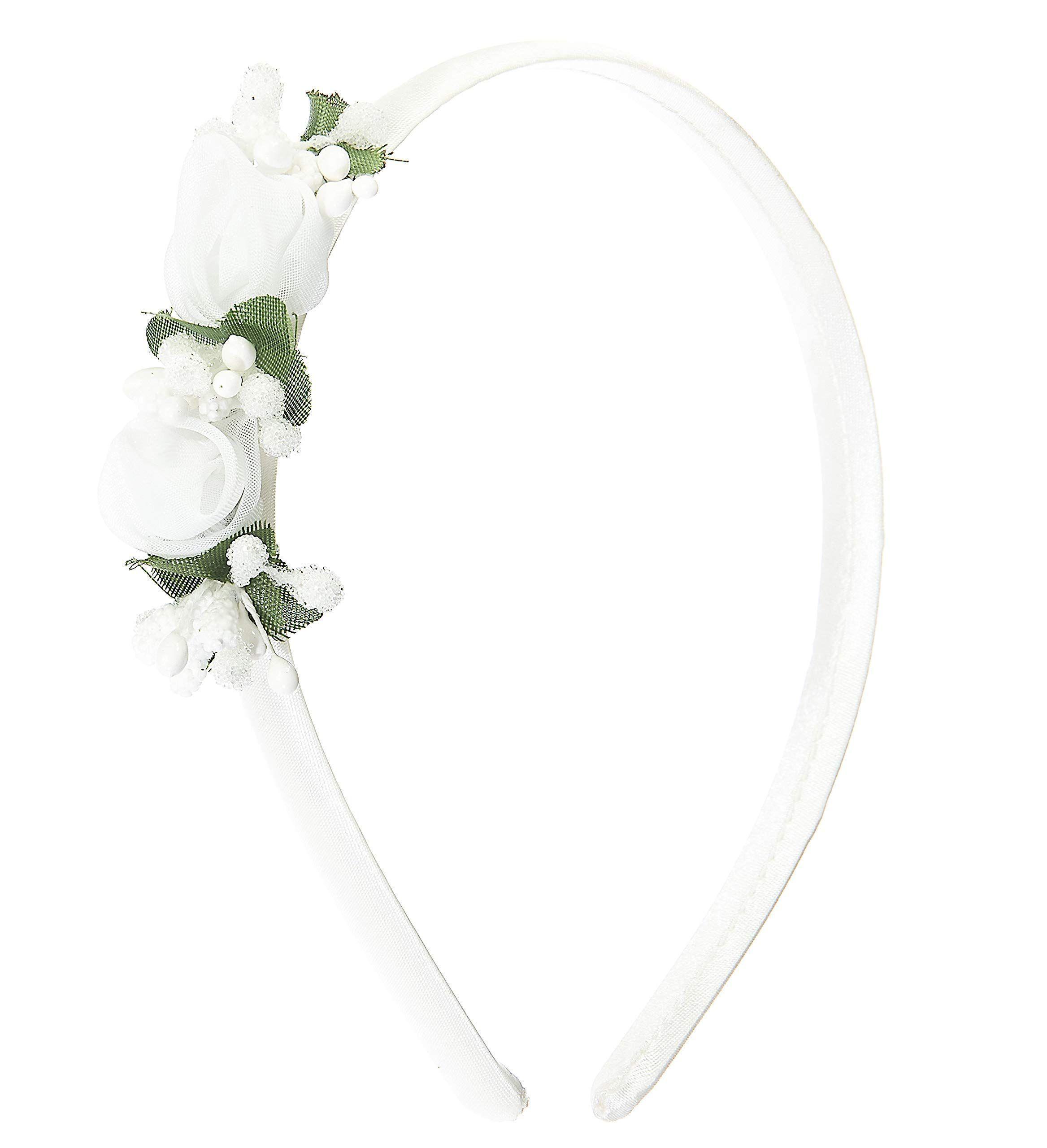 Cerchietto per cerimonia bambina bianco con fiori  bambina ... e2573a13a683