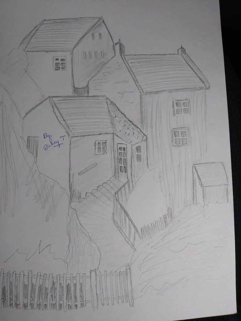 Home pencil drawing village home a home is always sweet