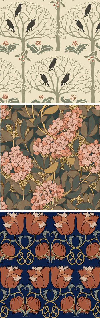 Trustworth Studios reproduces English Arts and Crafts patterns using their own period documents as well as designs found in private collections.