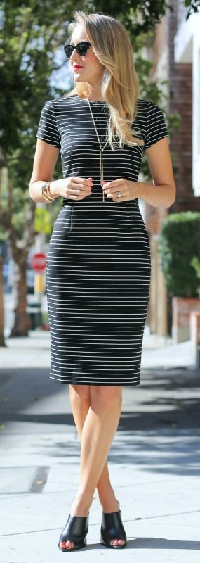black and white stripe short sleeve knit sheath dress + black mules