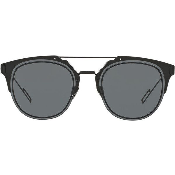 Dior Composit Black Round Sunglasses (740 CAD) ❤ liked on Polyvore ...