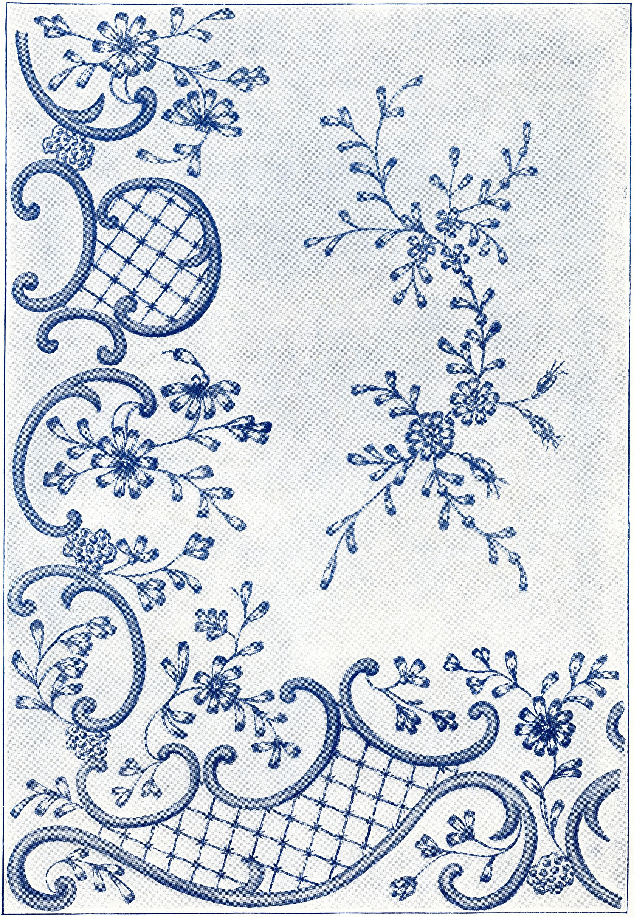 Victorian Embroidery Fancy Stitches Design of Swirls and Flowers ...