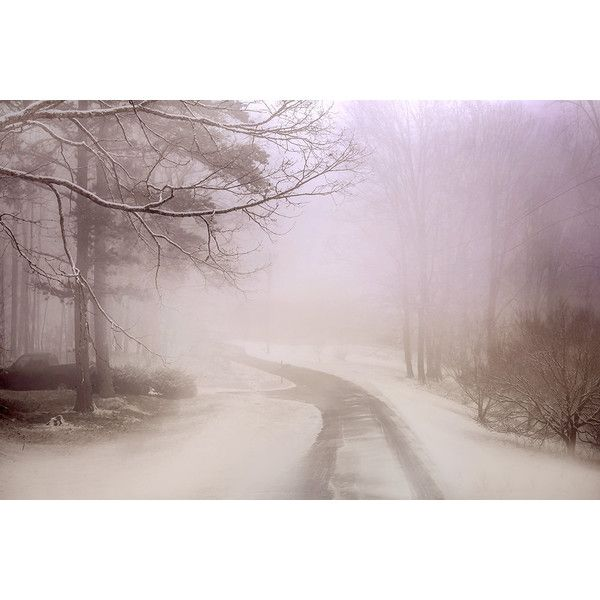Twilight held me, woods, misty path, moody, landscape, winter, pale... (£12) ❤ liked on Polyvore featuring home, home decor, wall art, dorataya, landscape wall art and photo wall art