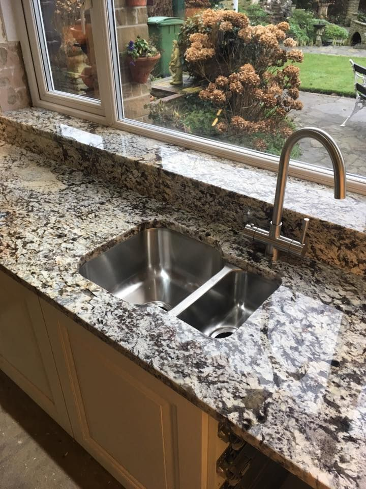 Lennon Gold Granite Worktop With Undermount Sink Upstands And