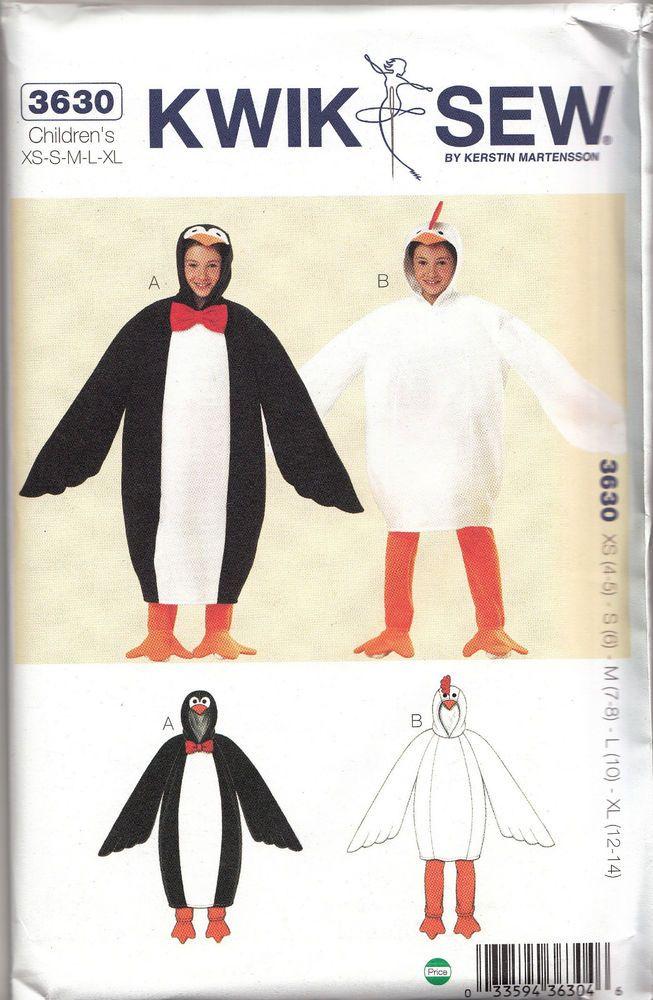 Children's Boys' Girls Penguin & Chicken Costume Pattern XS-XL ...
