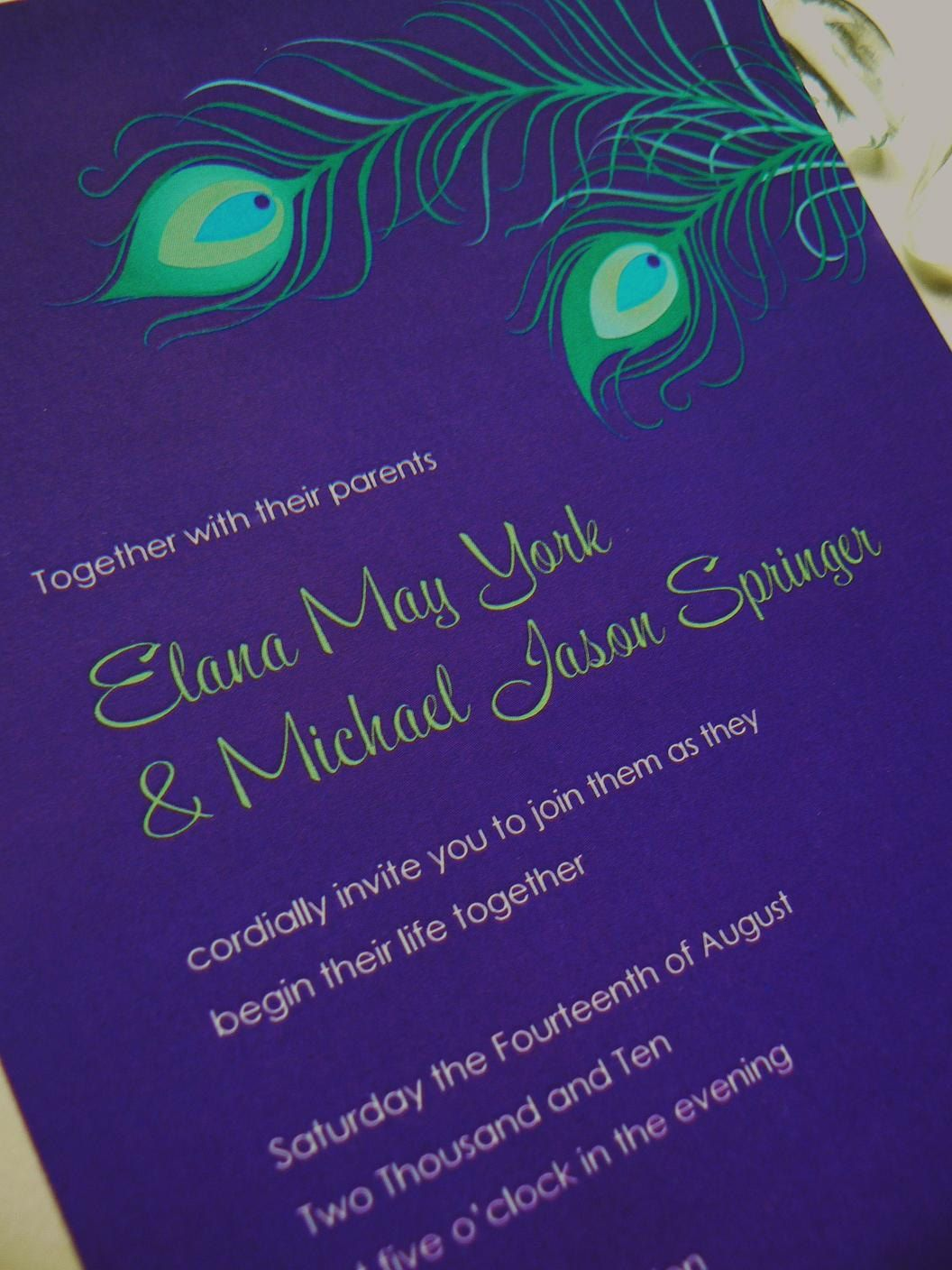 Purple Print Peacock Feather Wedding Invitations. Festive and playful. This plum, purple and soft green invitation set features draped exotic peacock feathers in shades of teal, green and blue. Perfect for a masquerade!    Availbale at www.fanfaredesigns.etsy.com