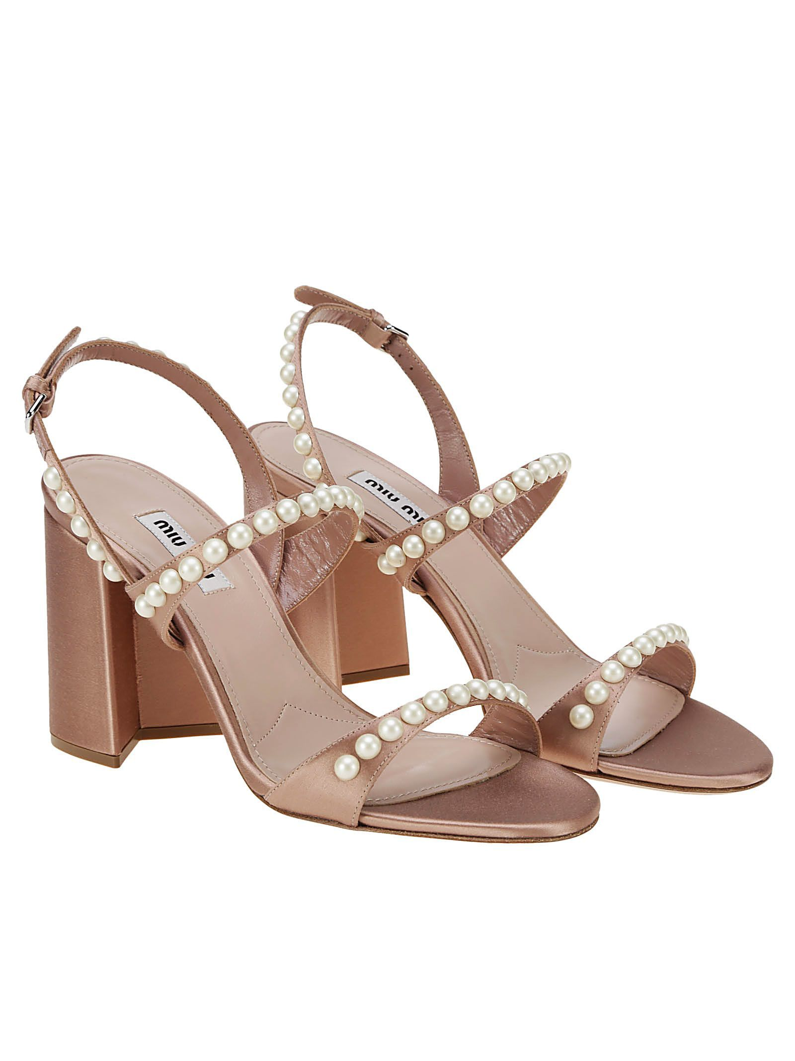 88f2fbca01f2 MIU MIU PEARL-EMBELLISHED BLOCK HEEL SANDALS.  miumiu  shoes
