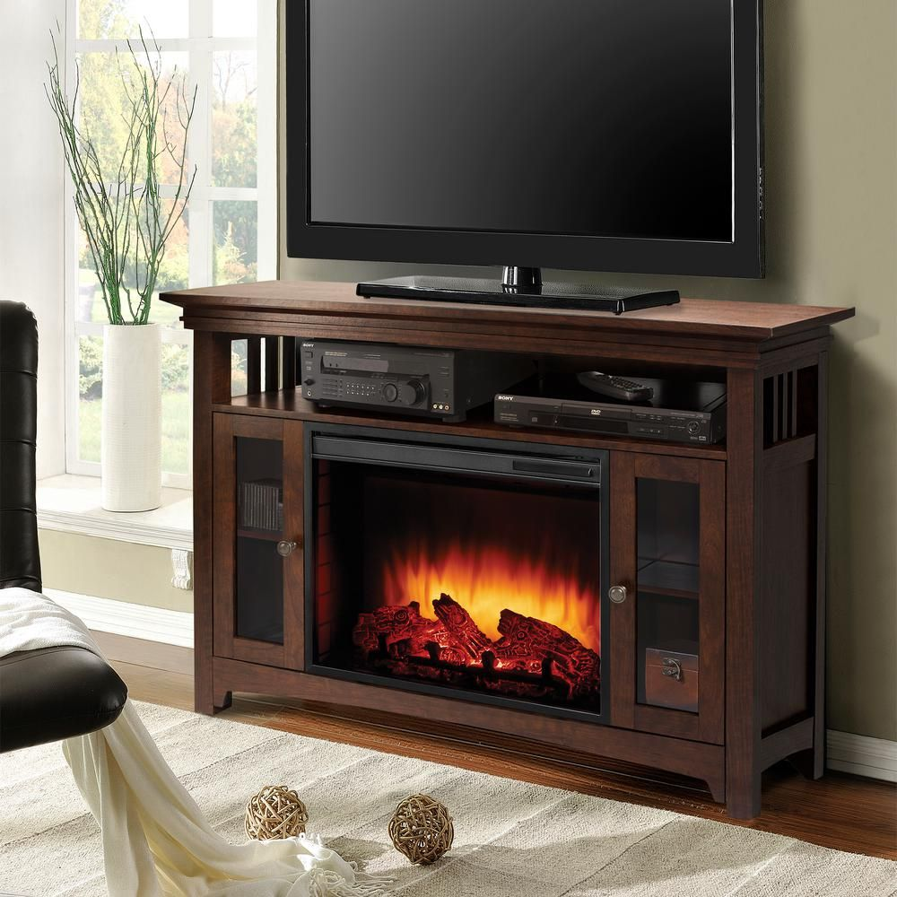 Muskoka Wyatt 48 In Freestanding Electric Fireplace Tv Stand In Burnished Oak 238 894 213 Kit The Home Depot Fireplace Tv Stand Electric Fireplace Tv Stand Fireplace Entertainment