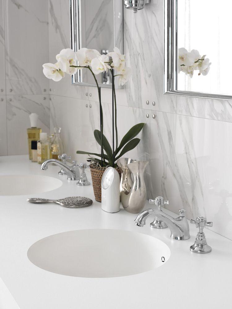 Design Handwaschbecken Badezimmer Weiss Marmor Retro Armatur Chrome # Badezimmer #bathroom #ideas