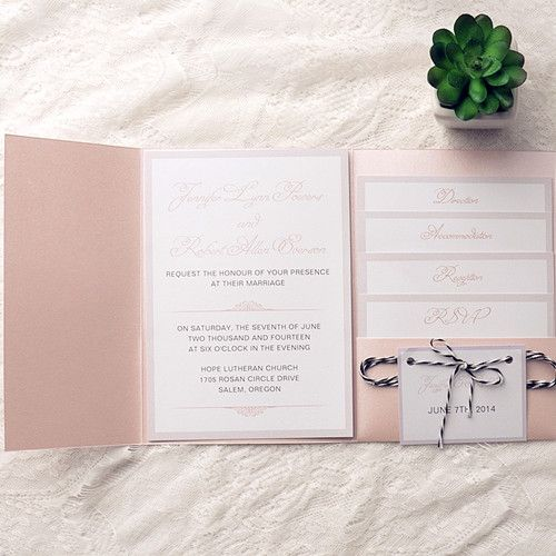 Cheap Simple Blush Pink Pocket Wedding Invitations With