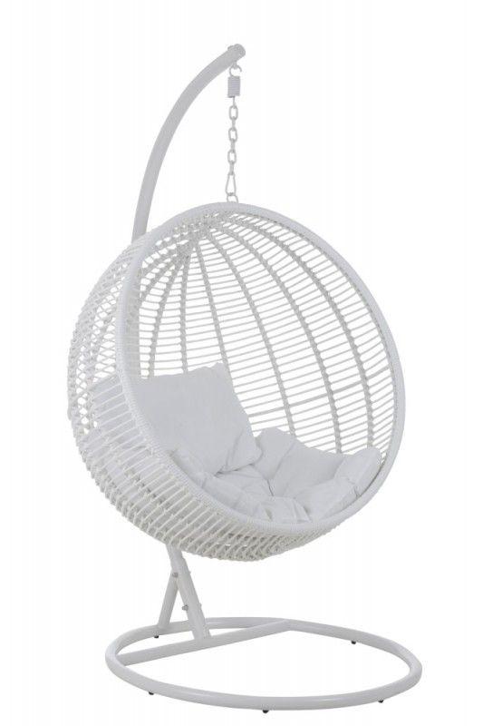 Hangstoel Egg Chair Wit.Hangstoel Rond Wit Korf Van J Line 549 00 Hanging Chair