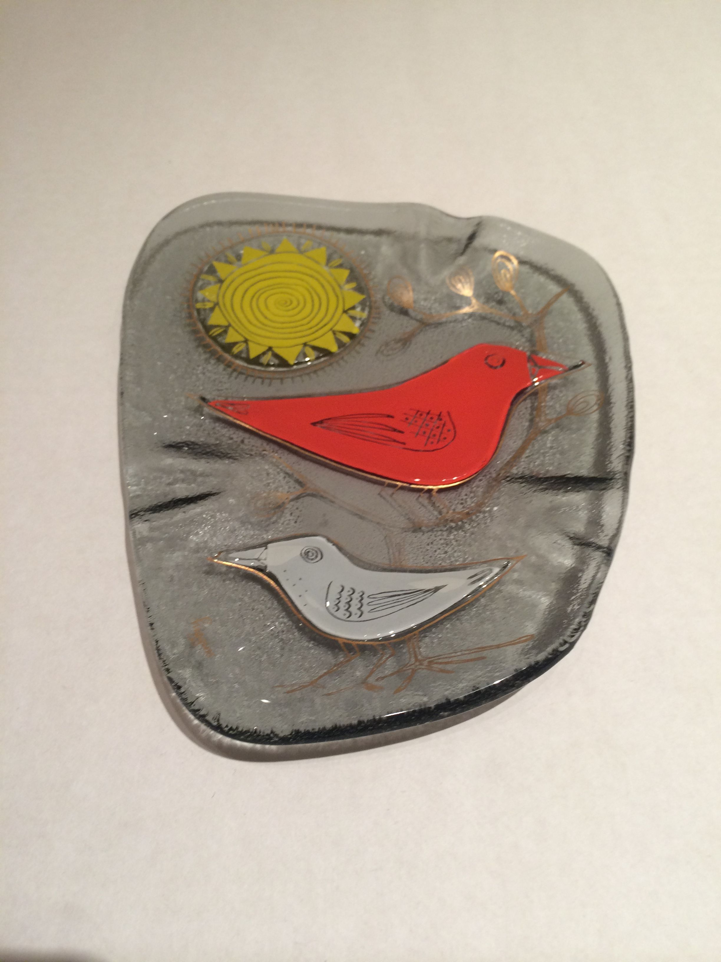 Fused Glass Dish/Ashtray w Birds and Sun Handmade by Higgins USA