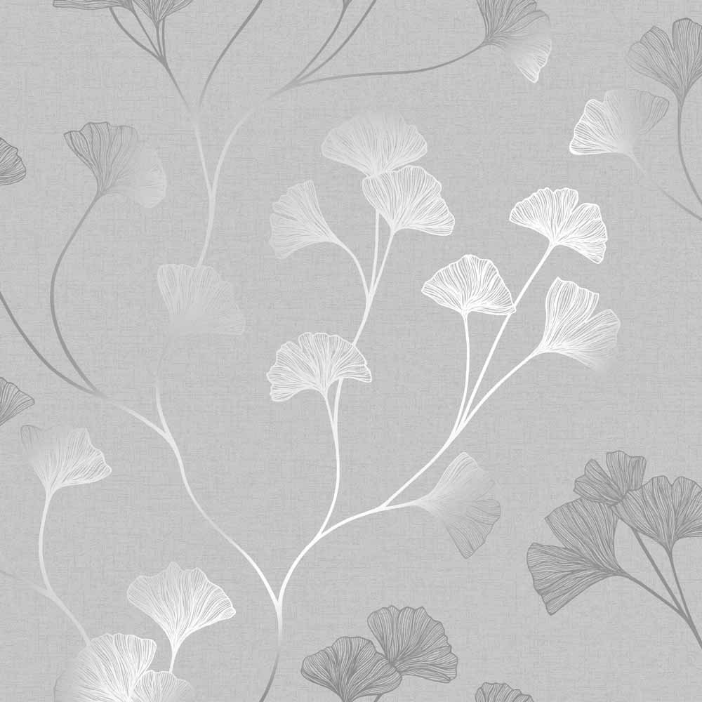 Holden Decor Glistening Ginkgo Grey Silver Wallpaper in