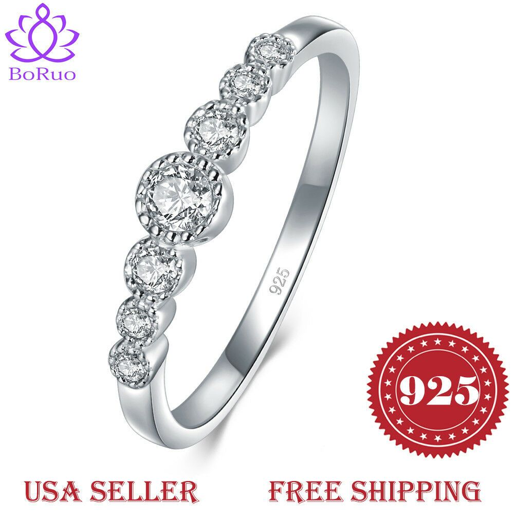 Boruo 925 Sterling Silver Ring Cubic Zircon Eternity Engagement