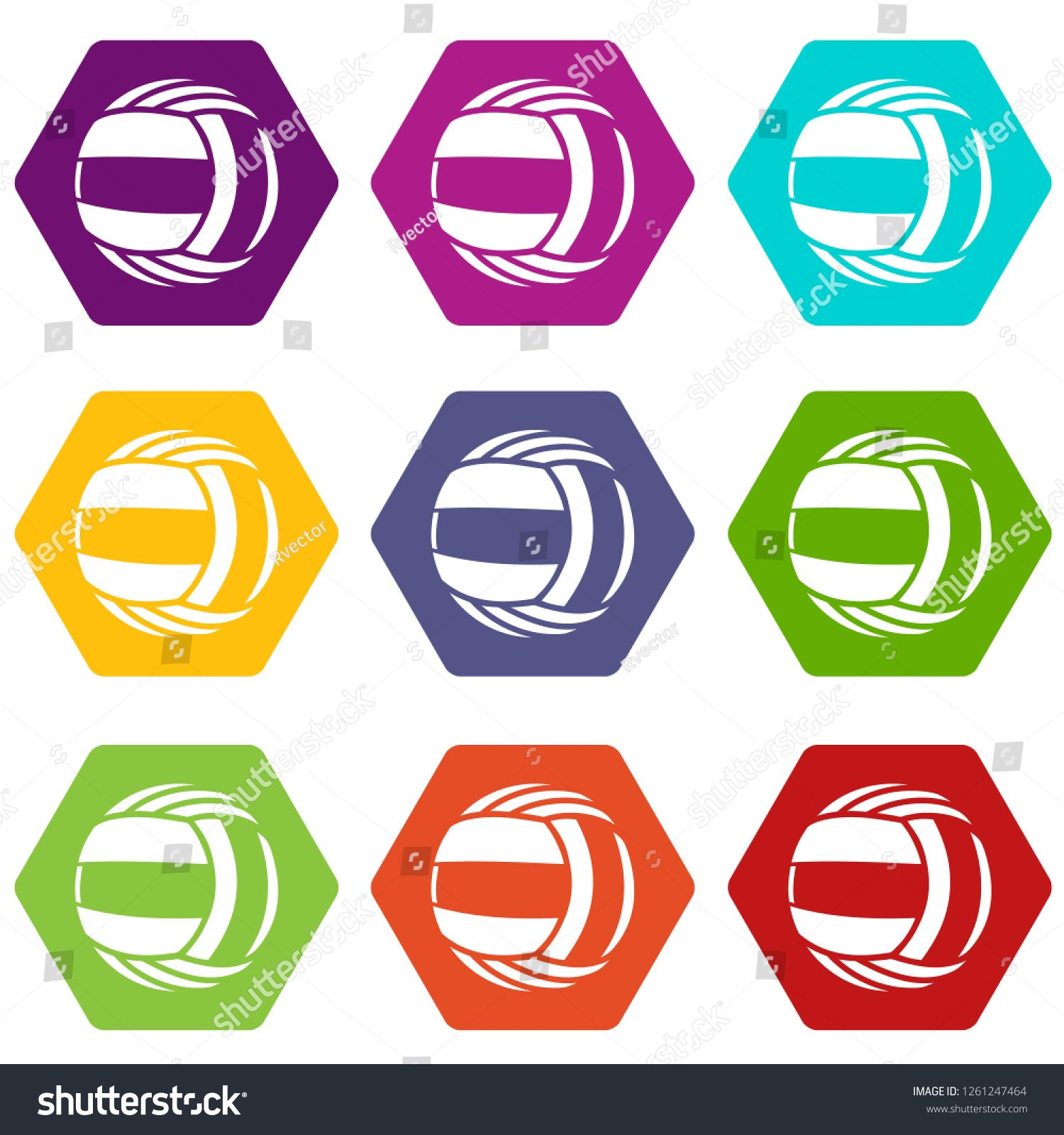 Volleyball icons 9 set coloful isolated on white for web #Ad , #SPONSORED, #set#icons#Volleyball#coloful