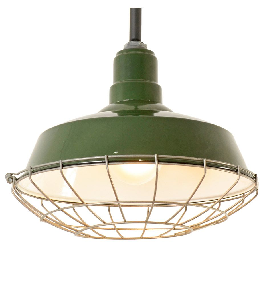 Exclusive Image Of Industrial Cage Work Light Chandelier Green