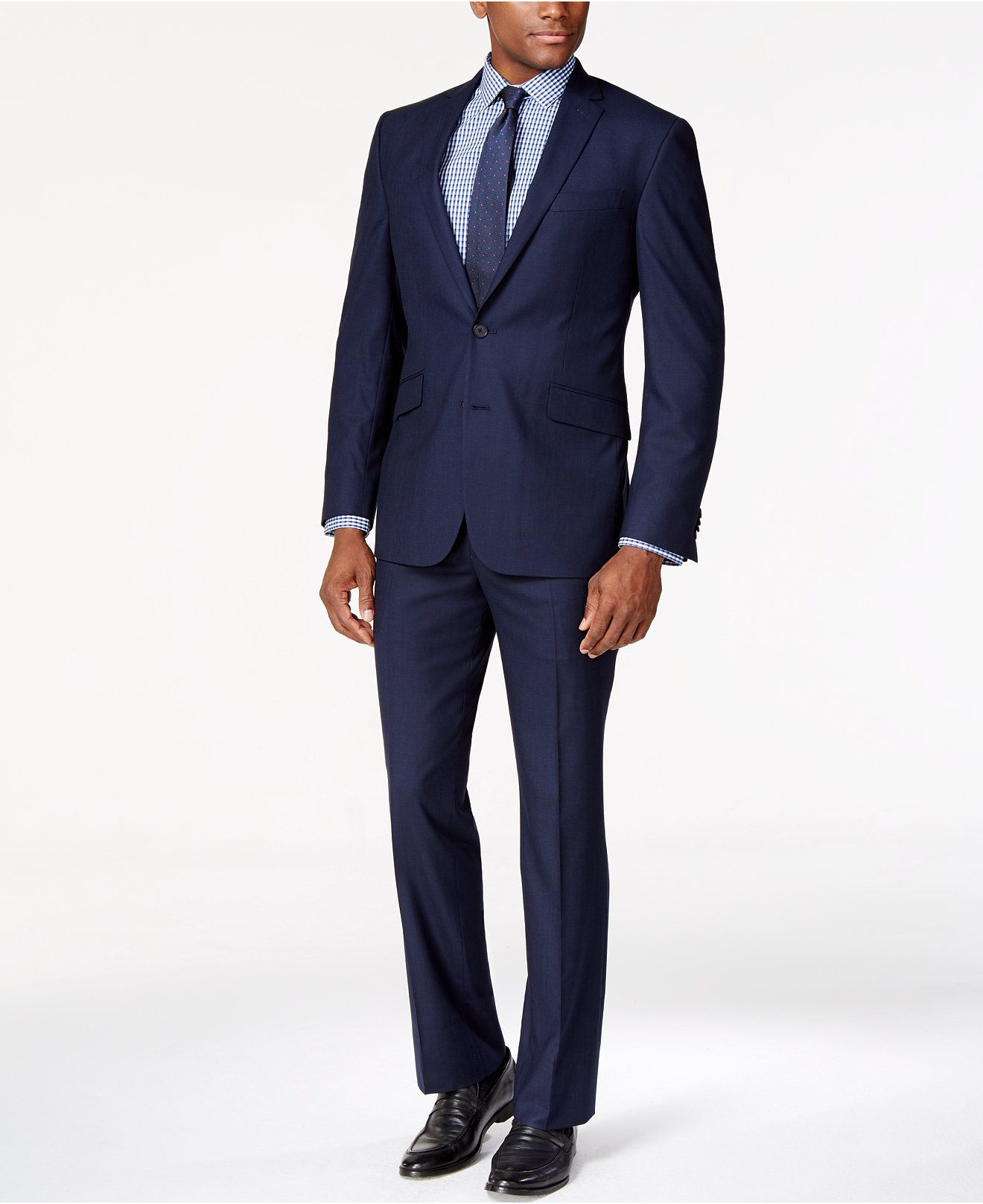 Kenneth Cole Reaction Tonal Blue Shadow Check Slim-Fit Suit - Suits   Suit  Separates - Men - Macy s df03b8114
