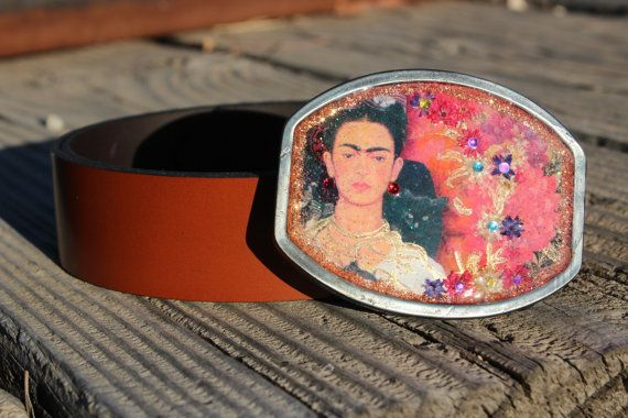 Frida Kahlo Leather Belt with Buckle Handmade On by RanchoAlpino, $25.00
