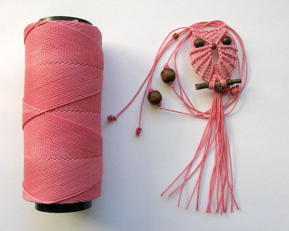 Faser-Kette: Macrame Owl Pink Rosa Makramee Eule Halskette