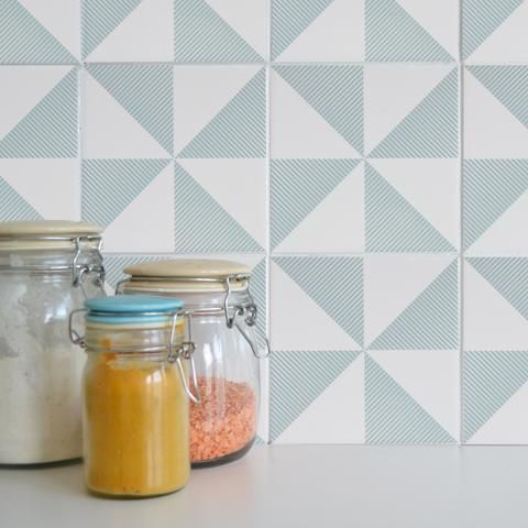 Wall Tile U0027tattoosu0027   Stick To Existing Tiles And Are Removable. Perfect  For A Geometric Kitchen.