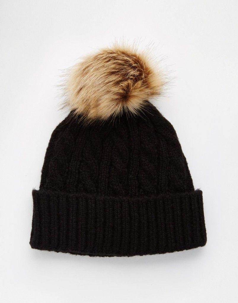 27061a301b5 Knit Faux Fur Pom Beanie