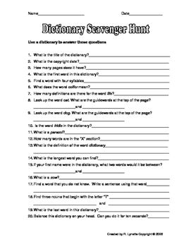 Dictionary Scavenger Hunt With Images Dictionary Skills