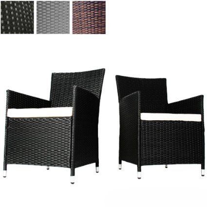 Fabulous 85 Miadomodo Set Of 2 Rattan Chairs With Seat Cushions Home Interior And Landscaping Oversignezvosmurscom