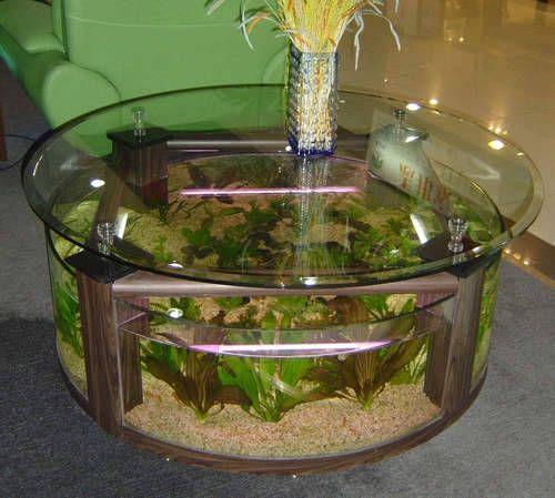 Aquarium Fish Tank Coffee Table, Round Aquarium Coffee Table
