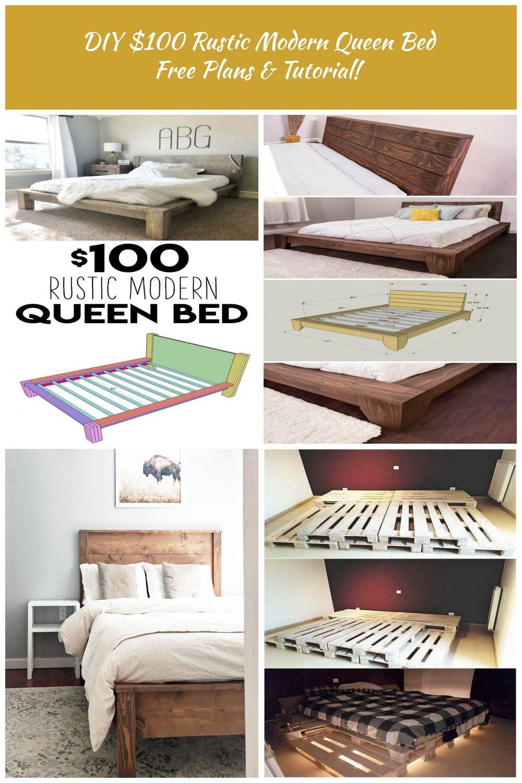 Diy 100 Rustic Modern Queen B Modern Queen Bed Diy Bed Frame