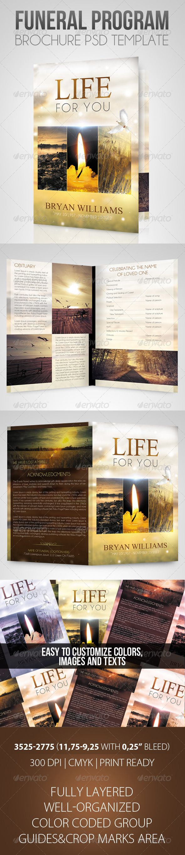 Life For You  Funeral Program Brochure Template  Brochure
