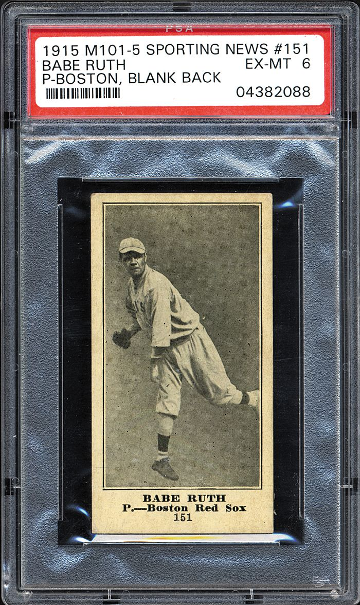 1915 M101-5 Sporting News Babe Ruth rookie card PSA 6 ...