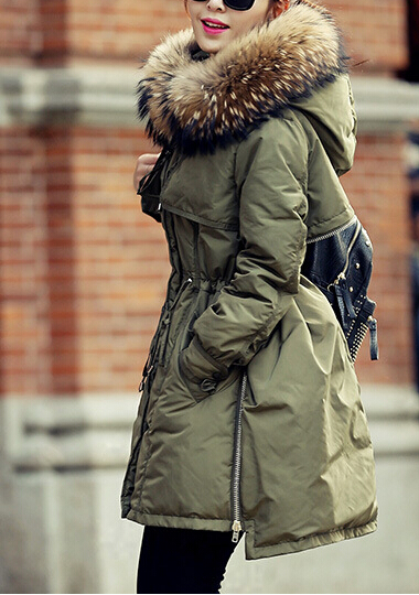 Army Green Winter Long Coat With Cap | victoriaswing | Winter