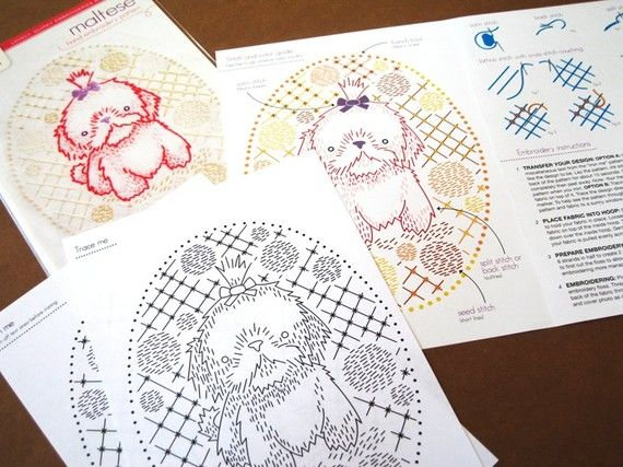 Maltese Puppy Hand Embroidery Pattern With Iron On Transfer
