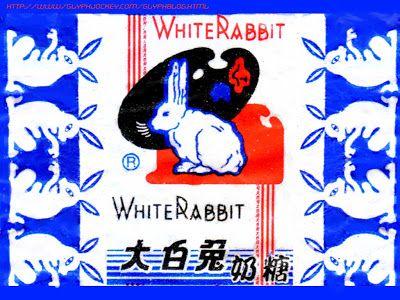 White Rabbit Candy Rabbit Illustration Vintage Graphic Design Concept Art Digital