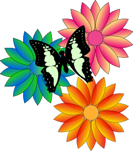 Butterfly And Flowers clip art - vector clip art online ...
