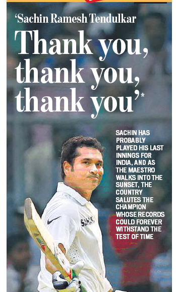 How Indian newspapers covered Sachin's last innings