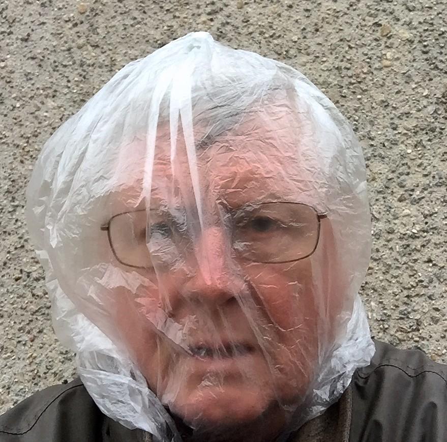 Self-Portrait With Plastic Bag on Head | Plastic bag, Portrait ...