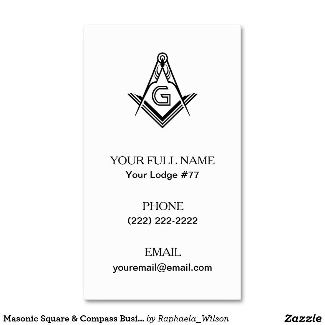 Masonic Square & Compass Business Cards, Freemason Business Card ...