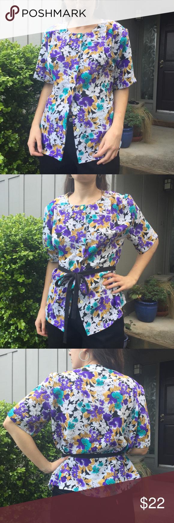 Fits Size Small 1980s Blouse Vintage Purple Floral Blouse Floral Button Up Blouse